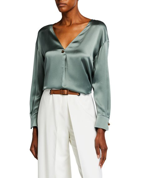 V-Neck Ball Button Silk Blouse