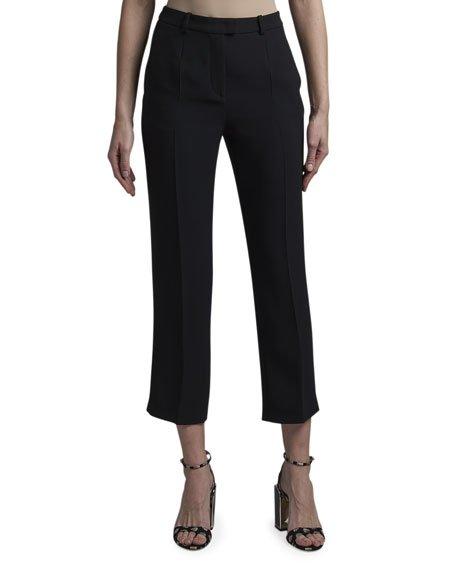 Slim-Leg Tab-Front Capri Pants