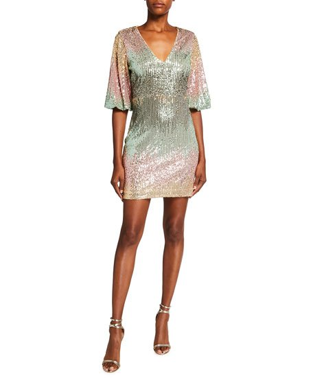 Ombre Sequin V-Neck 1/2-Sleeve Mini Dress