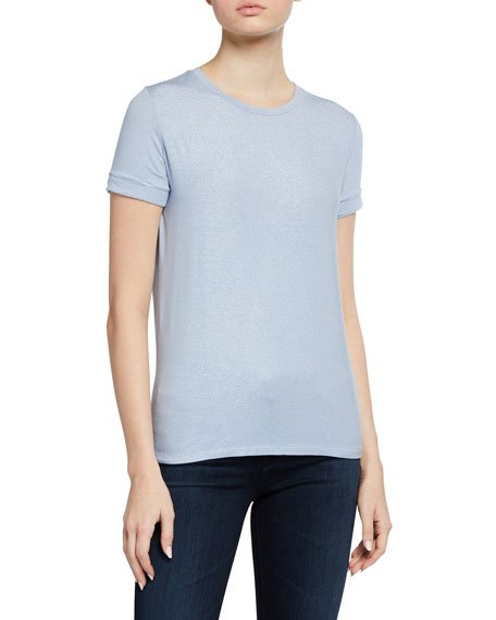 Stretch Metallic Pleated-Back Crewneck Tee