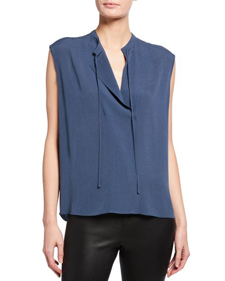 Sleeveless Tie-Neck Crepe Blouse