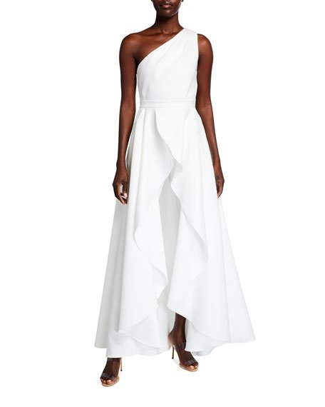 Orlando One-Shoulder Cropped Jumpsuit w/ Overskirt