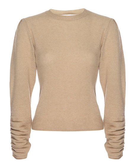 Gabby Cashmere Sweater with Gathered Sleeves