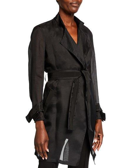 Organza Belted Silk Jacket