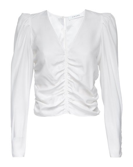 Agnes Ruched Silk Top
