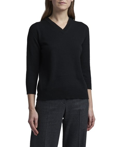 Alashan 3/4-Sleeve Cashmere V-Neck Sweater