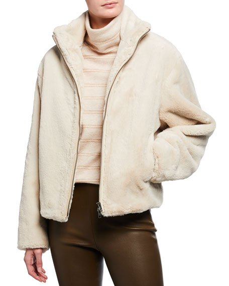 Zip-Front Plush Faux Fur Jacket