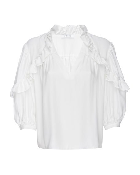 Cali Silk Ruffle Top