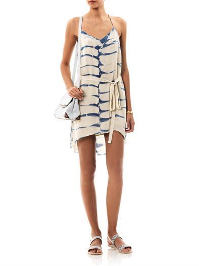 Tie-dye halter dress by Raquel Allegra