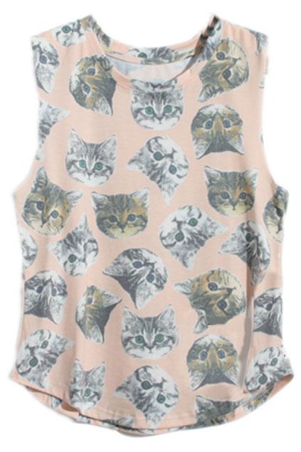 Sleeveless Cats\' Faces Print Pink T-Shirt