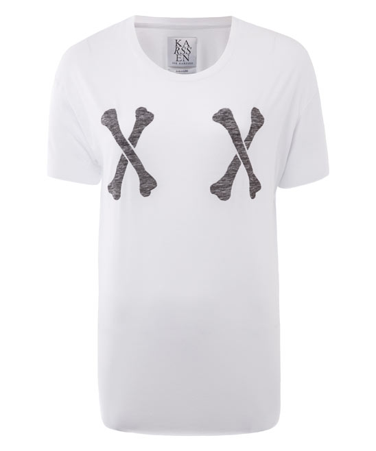 Zoe Karssen White Crossed Bones T-Shirt