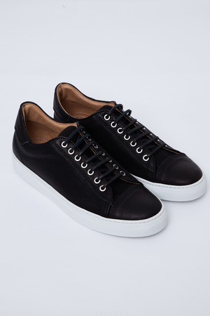 Wings + Horns - Black/White Leather Low-Top Sneaker