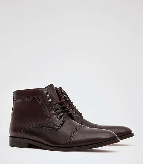 Reiss Marx Brogue Boots in Ox Blood