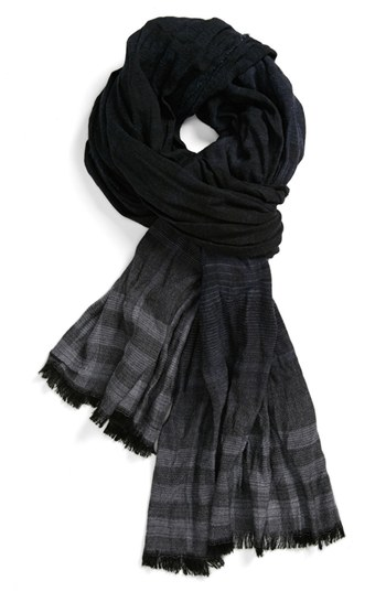 John Varvatos Collection Overdyed Plaid Scarf