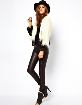 Unreal Fur Two Tone Short Fur Jacket In Cream and Black