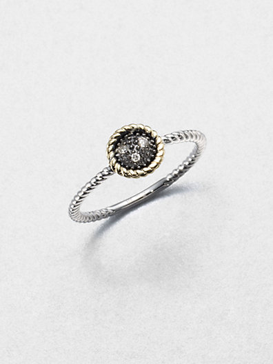 Jude Frances - Grey Diamond, 14K Yellow Gold & Sterling Silver Round Ring