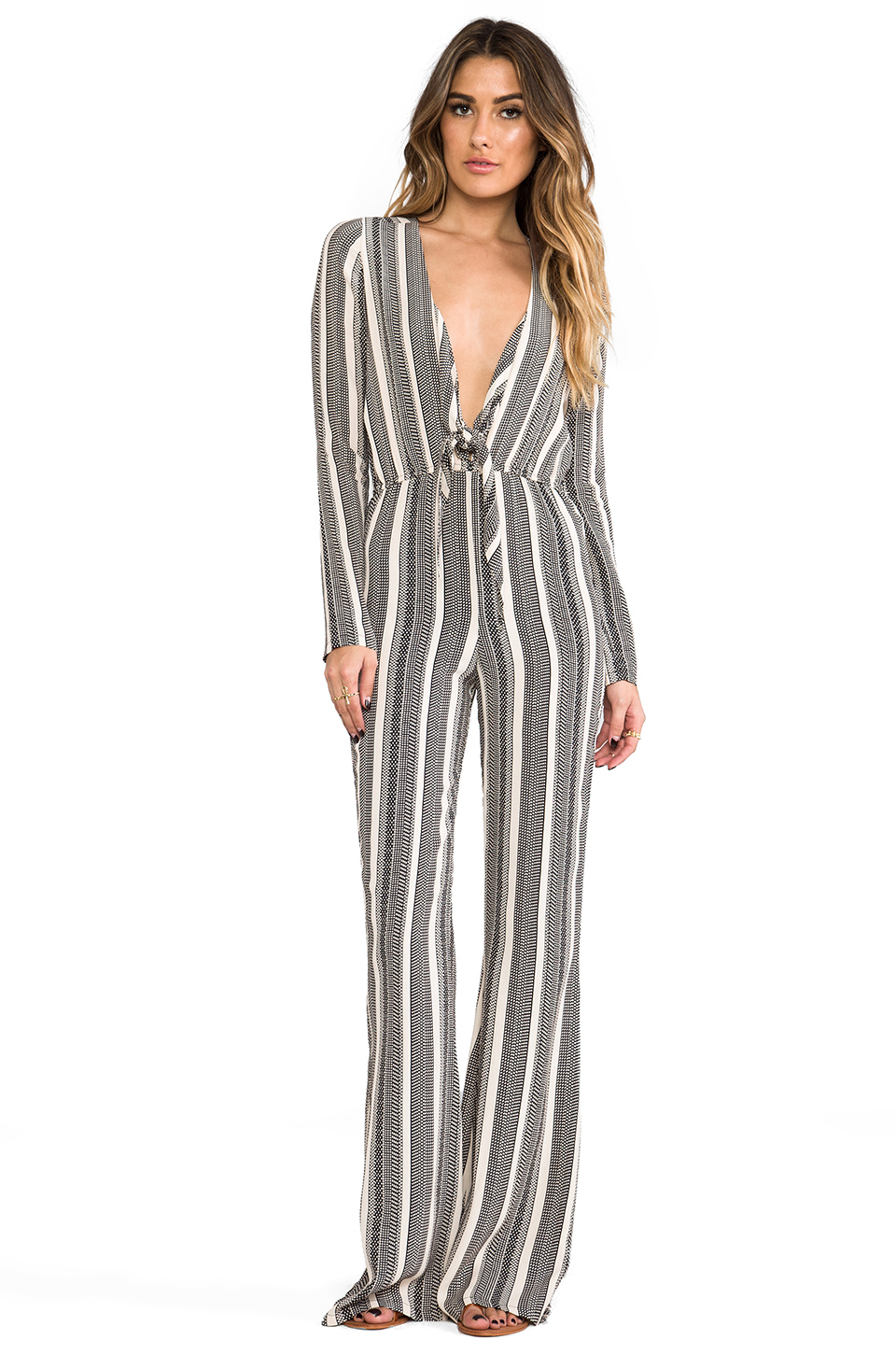 Stone Cold Fox Stardust Jumpsuit in Black & Ivory Stripe