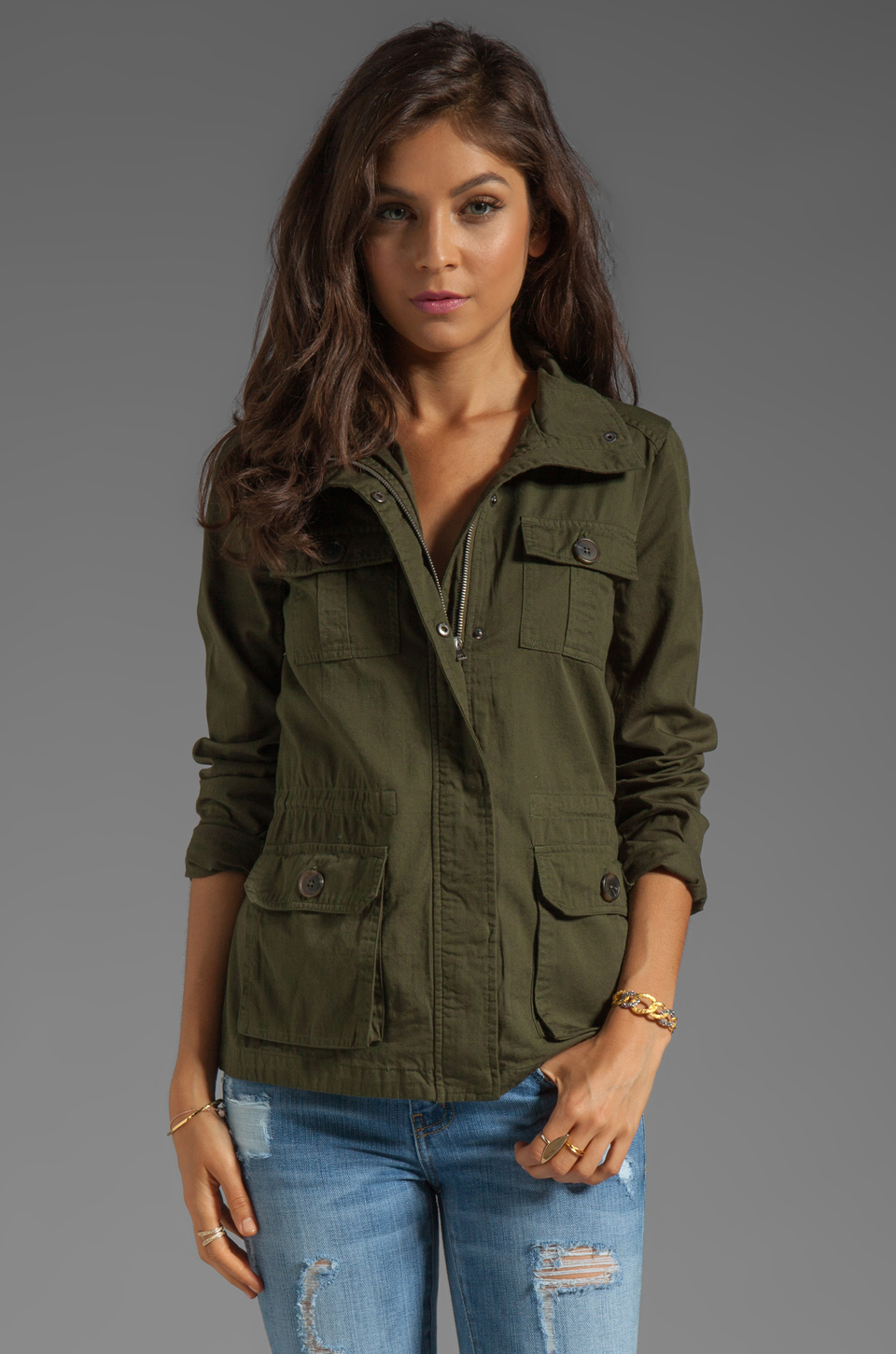 Leslie Cotton Twill Army Jacket in Army Green // BB Dakota
