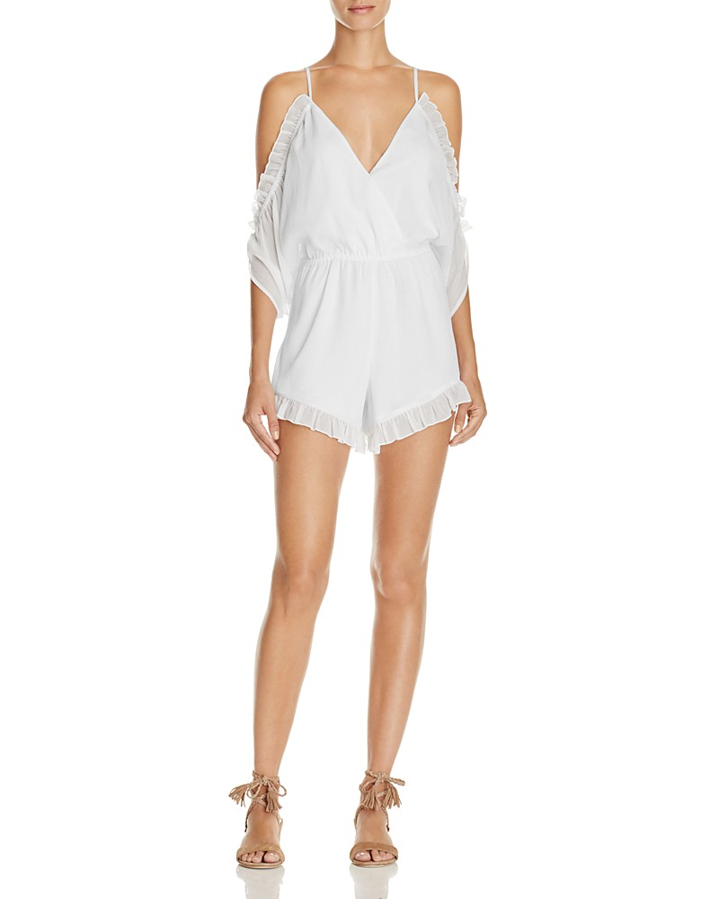 Malia Ruffled Cold Shoulder Romper