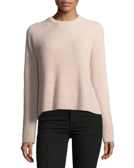Bianca Crewneck Ribbed Cashmere Sweater