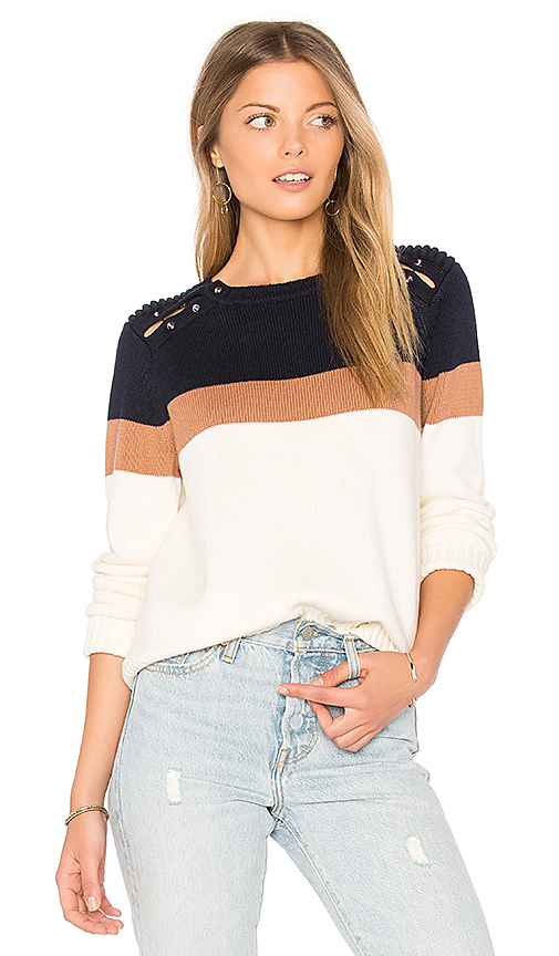 Stripe Shoulder Barbell Sweater