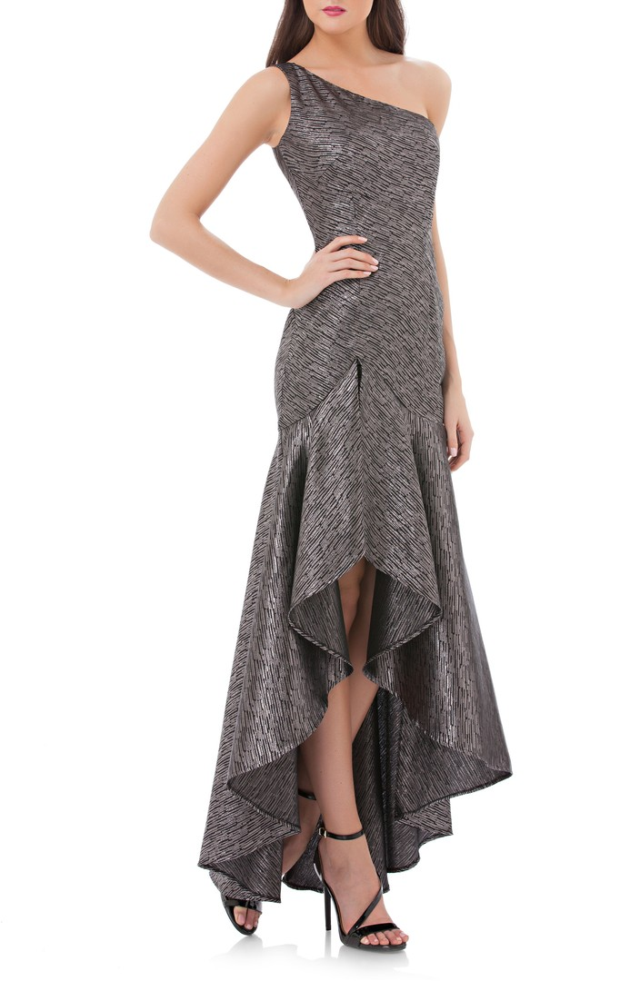 Valvo Infusion One-Shoulder Metallic Gown