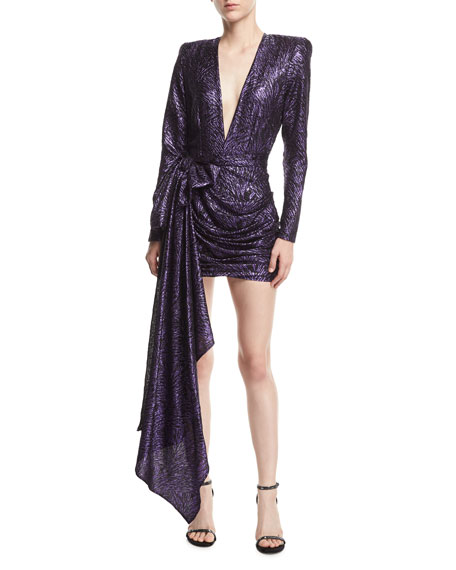 Plunging Metallic Jacquard Dress with Draped Side