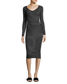 Merino Wool Long-Sleeve Striped Rib-Knit Midi Dress