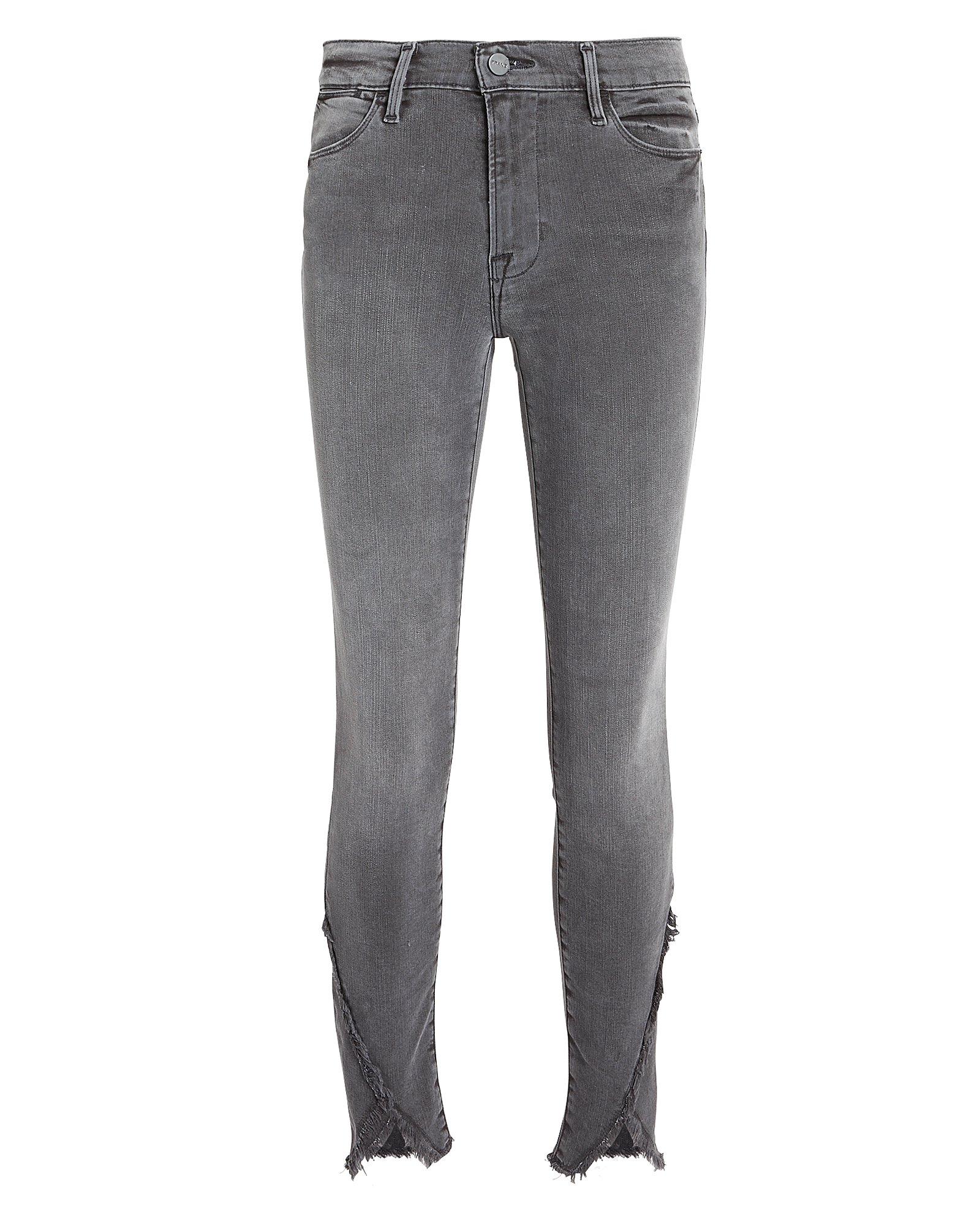 Quinby Asymmetrical Frayed Hem Jeans