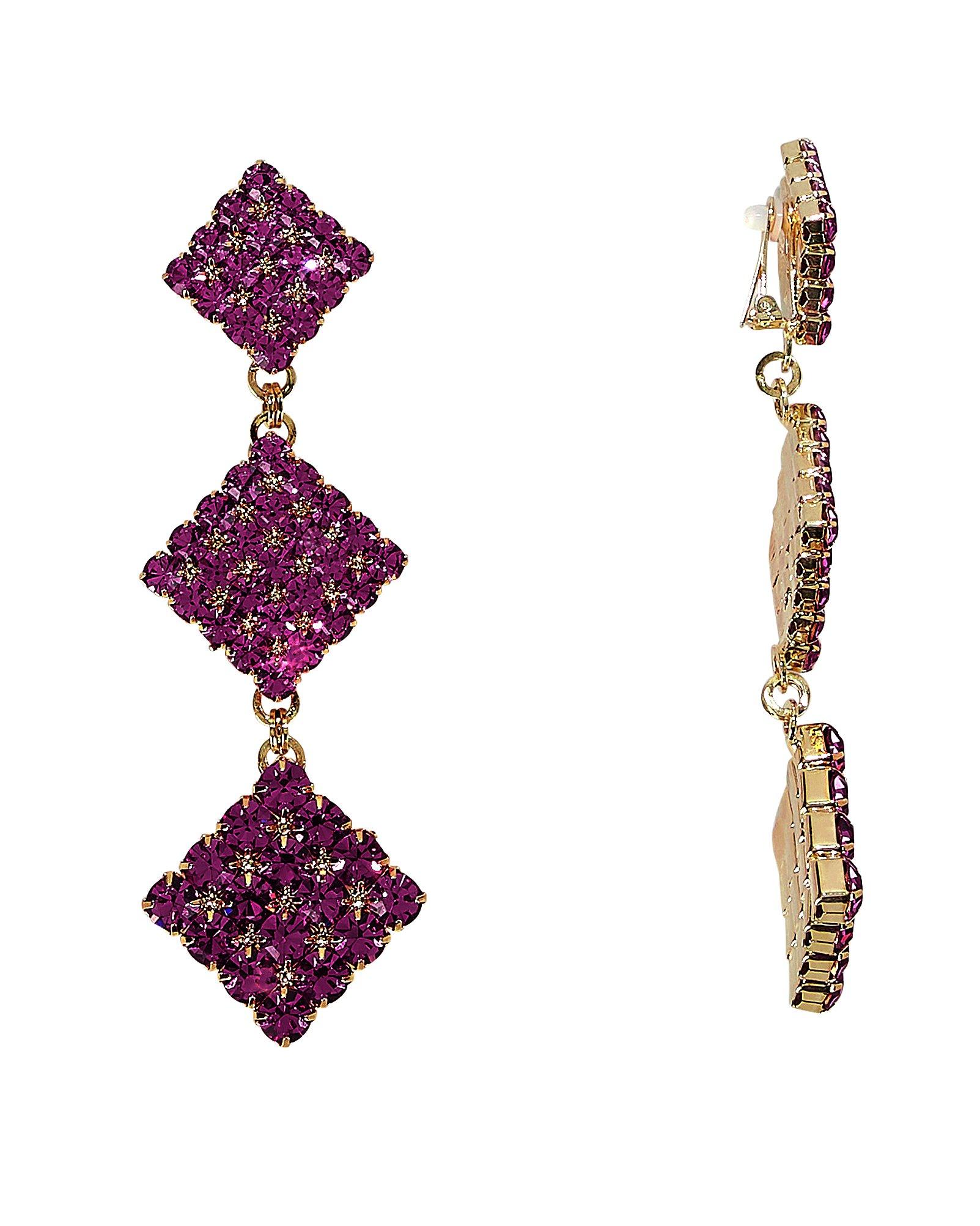 Long Crystal Diamond Purple Earrings