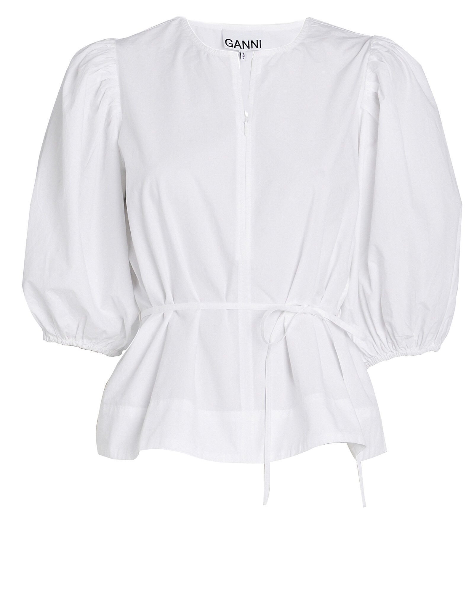 Cotton Poplin Puff Sleeve Top
