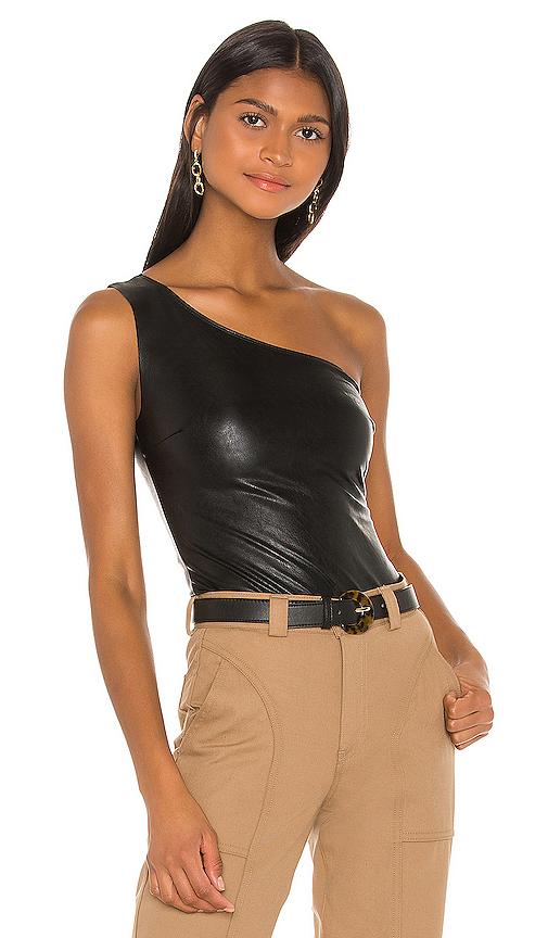 Faux Leather One Shoulder Bodysuit