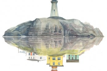 A drawing of a lighthouse on top of some rocks, but the reflection in the water is of a few houses