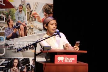 Woman Speaking at Walrus Talks event