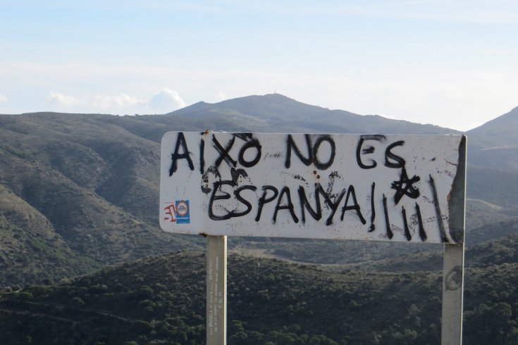 """Graffiti in Catalonia reads """"This is not Spain."""""""