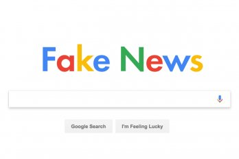 "Image of the Google homepage with the logo replaced with the phrase ""Fake News"""