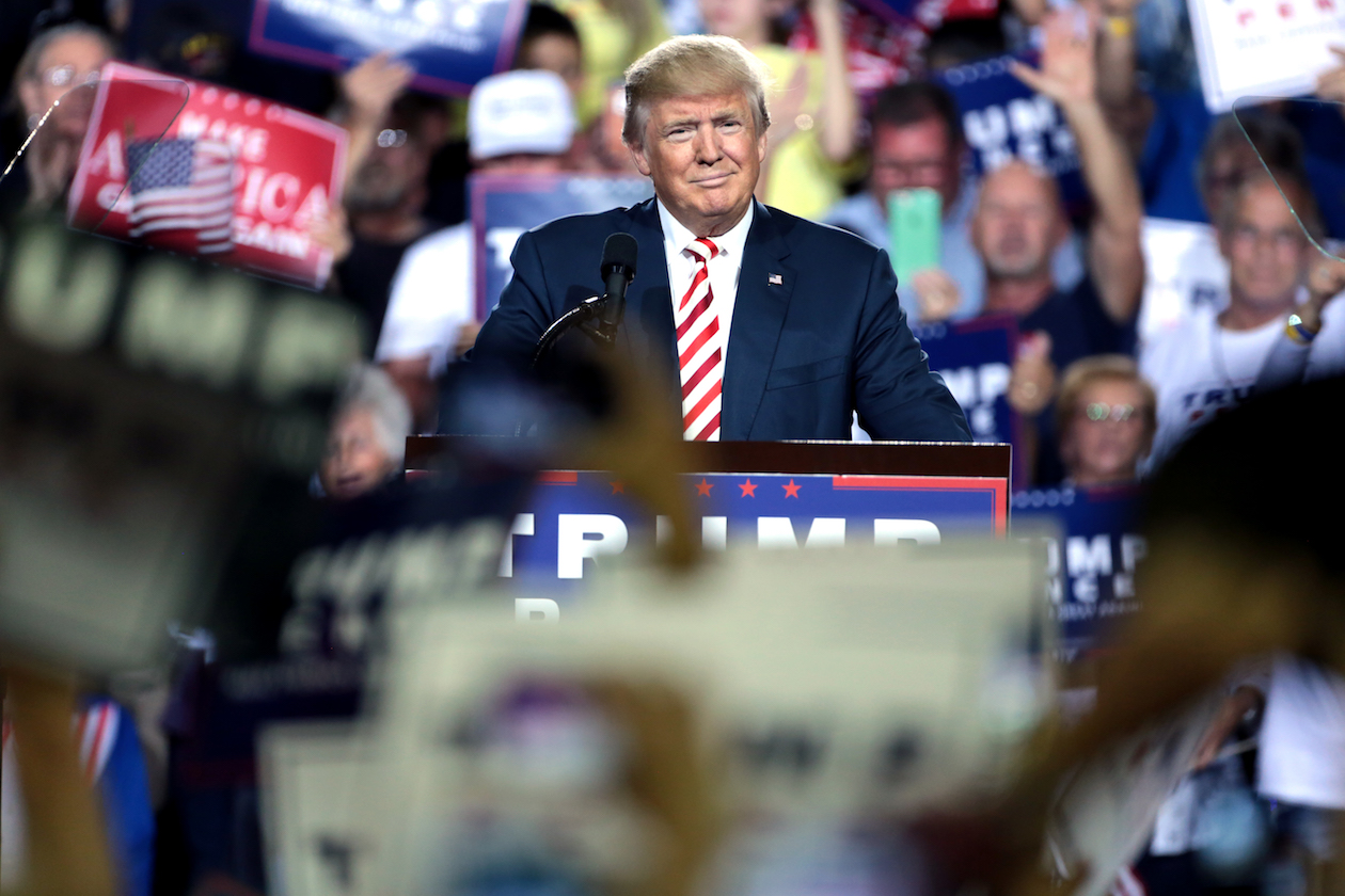 Photography of Donald Trump Smirking at a Rally