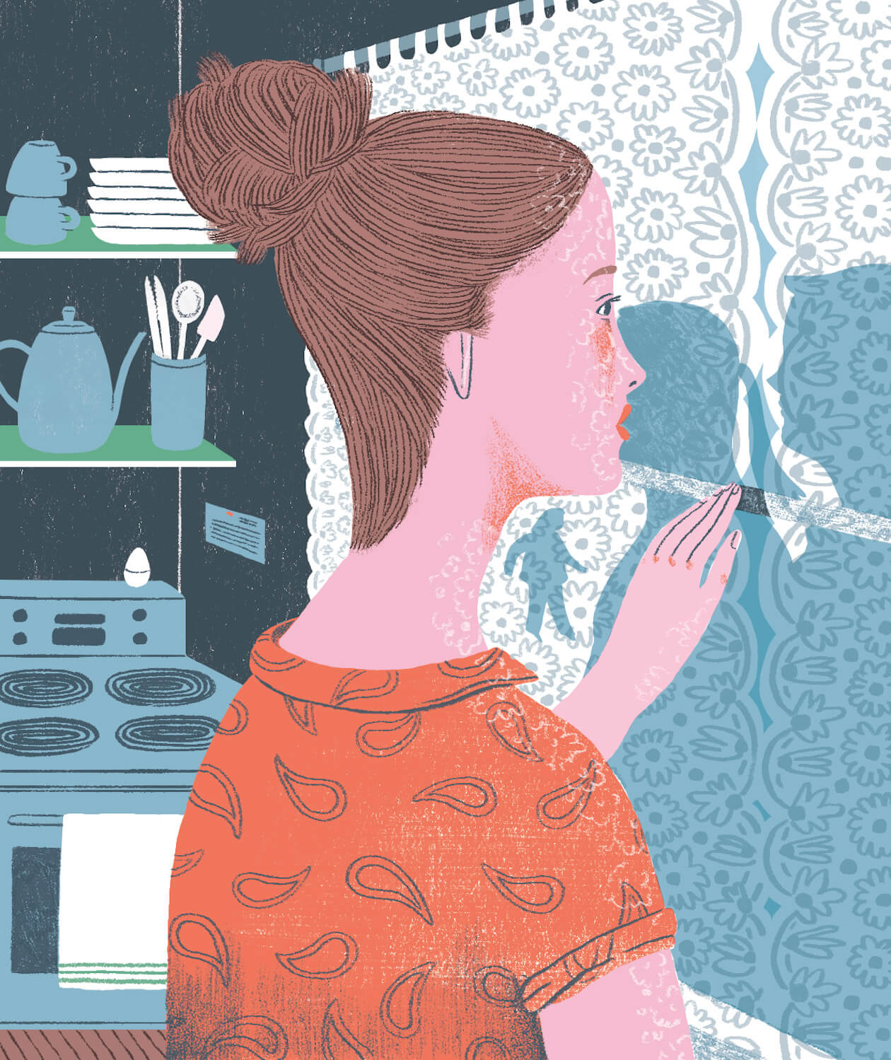 Illustration of a Woman Looking at Shadows on the Kitchen Wall