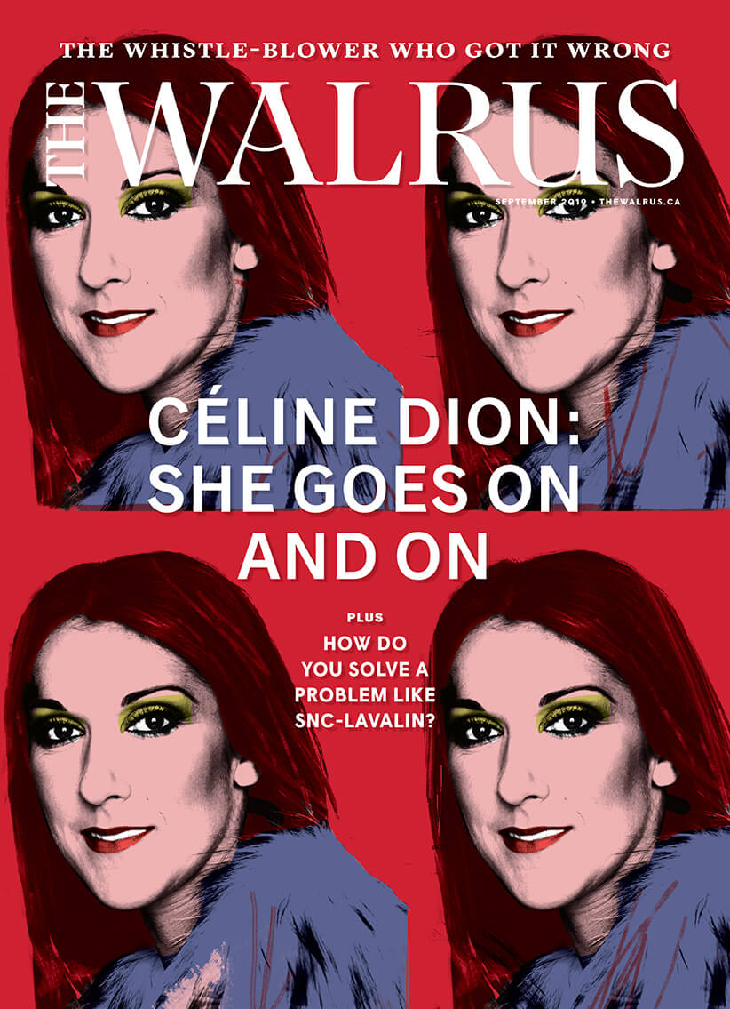 Cover of the September issue of The Walrus magazine, four  stylized photos of Celine Dion.