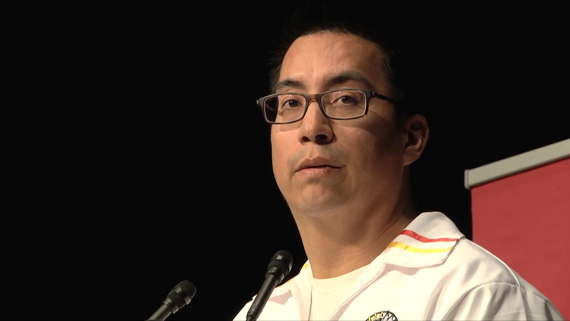 Video still of Clayton Kootenay from The Walrus Talks Aboriginal City