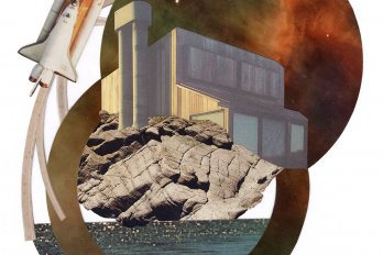 A cutout illustration of a rocket ship rising above a large institutional building. The building is perched on a rock outcropping, which emerges from a body of water.