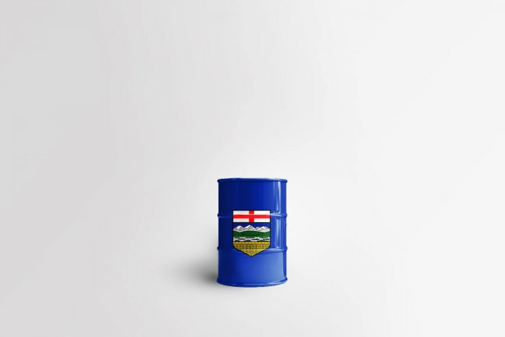 barrel of oil with Alberta crest on it