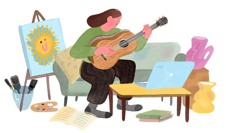 Illustration of a woman on a couch playing guitar. In front of her is an open laptop on a coffee table; behind her is an easel with a painting of a sun. Scattered books and vases are around and beneath the table.