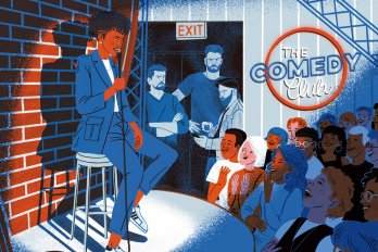 Illustration of a young brown woman in a suit, telling jokes from onstage at a comedy club. The young, diverse audience laughs. Several male comics, older and white, stand outside the spotlight looking moody and resentful.