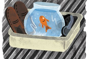 Illustration of a goldfish in a bowl, a pair of brown shoes, and a pair of headphones in an airport security tray on a conveyor belt.