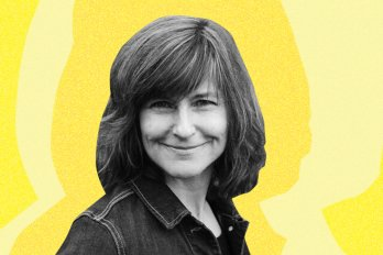 A photo of the poet, Barbara Nickel. She has dark straight hair and is smiling at the camera. The background is bright yellow.