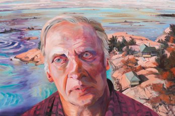 Oil painting of an older male against a sea background.