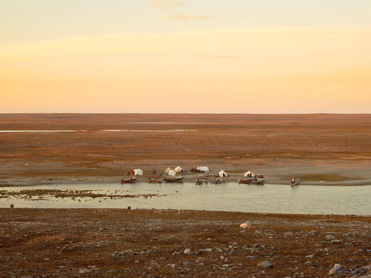 A camp set up by the Taloyoak Ranger Patrol near the mouth of a freshwater stream along Simpson Strait.
