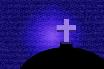 A purple crucifix against a dark indigo background.