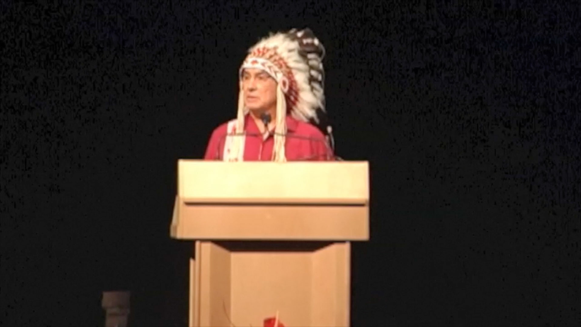 Video still of Chief Wilton Littlechild from The Walrus Talks Performance